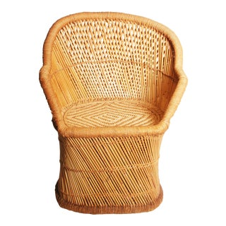 Vintage Boho Chic Bamboo Accent Chair
