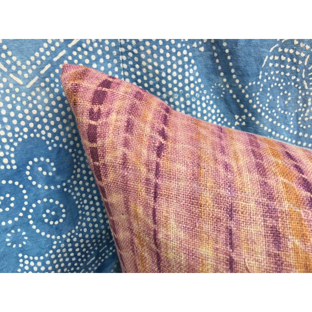 Burmese Hand Batik Linen Pillow - Image 5 of 7