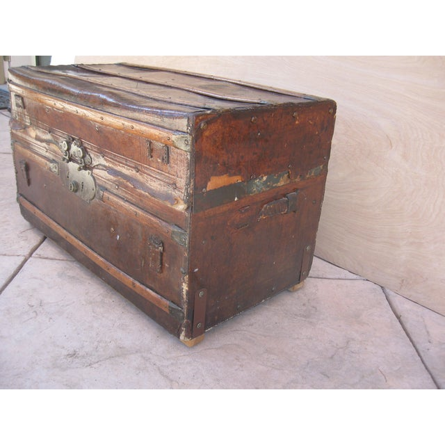 Antique Rustic Embossed Leather & Wood Trunk - Image 6 of 9