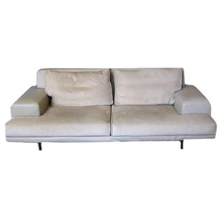 Gray Leather & Velvet Loveseat