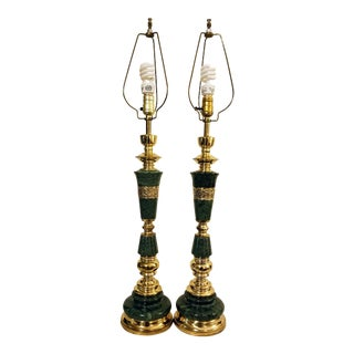 Asian Mid-Century Modern Marble & Brass Table Lamps - A Pair