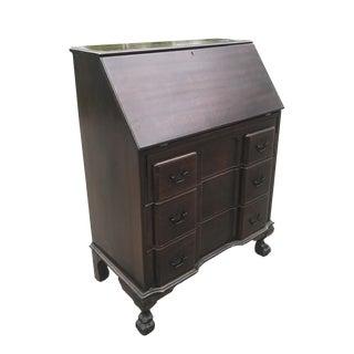 Antique Chippendale Style Governor Winthrop Block Drop Front Secretary Desk