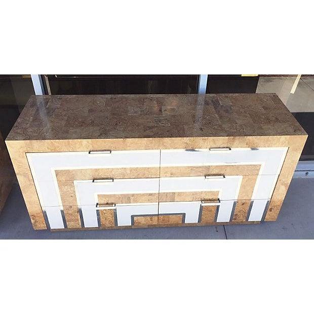 Image of Mid-Century Burl Wood & White Mica Dressers - Pair