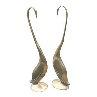 Brass Mid-Century Modern Art Deco Tall Swans - A Pair