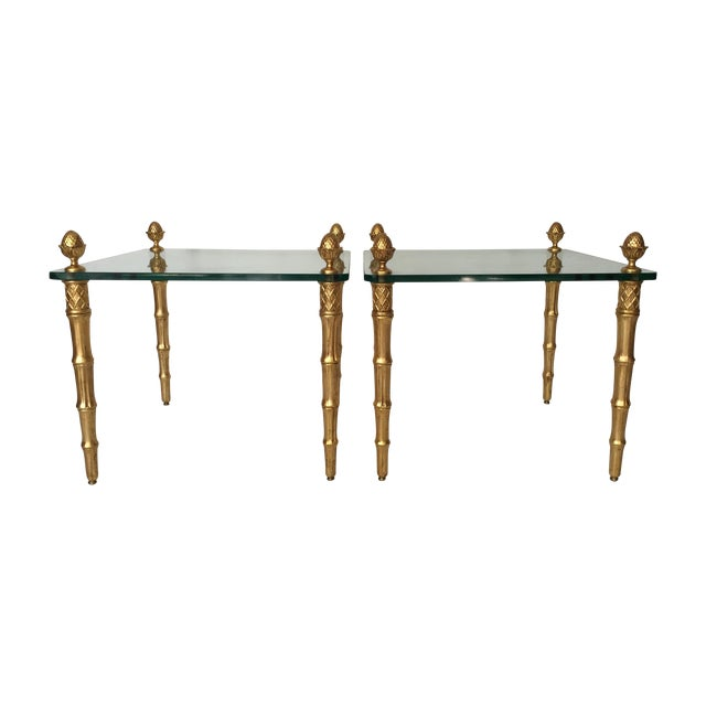 Faux Bamboo Pineapple Gilt Side Tables - A Pair - Image 1 of 5