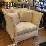 Image of Cream Upholstered Nail Heads Flared Chair