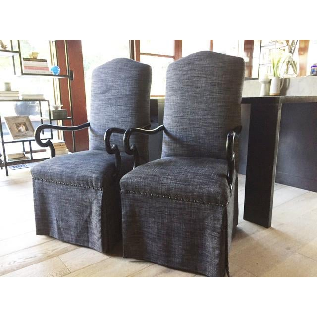 Gray Upholstered Dining Chairs - A Pair - Image 2 of 5