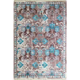 "Picasso Soft Turkish Blue Brown Rug - 5'3"" x 7'4"""