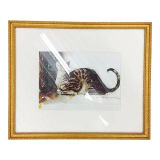 Tabby Cat Watercolor Print in Gold Frame