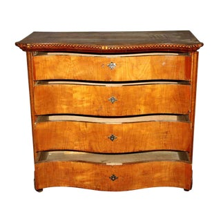 Early 1800s Cherry Chest With Serpentine Front