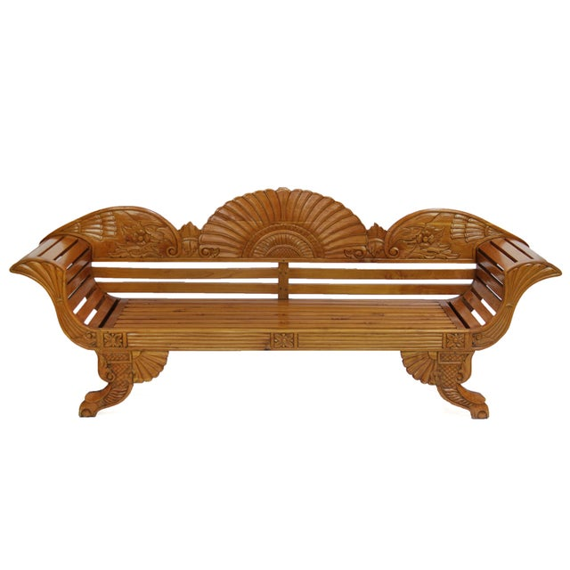 Image of Colonial Java Carved Bench