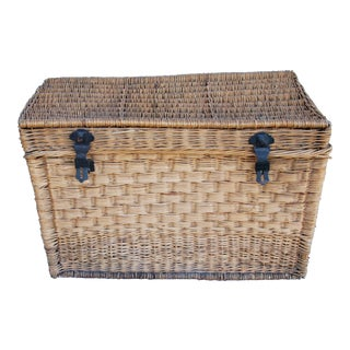 Antique French Wicker Basket Traveling Trunk