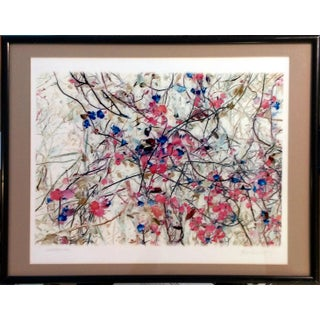 """Nasturtiums"" Modern Floral Lithograph"