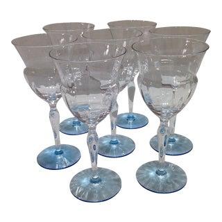 Vintage Optic Blue & Clear Crystal Stemware - 7