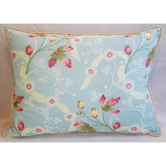 Powder Blue Scalamandré Floral Brocade Pillows - A Pair - Image 5 of 11
