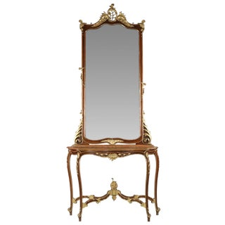 Rococo Parcel Gilt Walnut Mirror & Console Table - A Pair