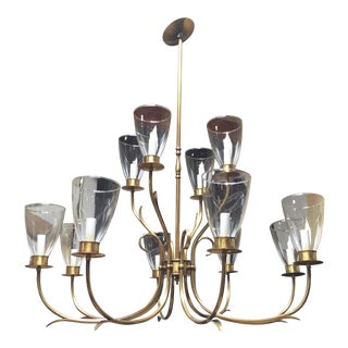 Vintage Norman Gragg 12-Arm Brass Chandelier