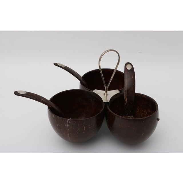 Image of Vintage Coconut Shell Garnish Bowl & Spoons