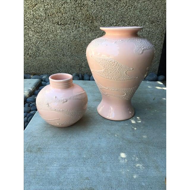 Vintage Shagreen Embossed Vases - Pair - Image 2 of 4