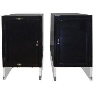 Pair of High Gloss Black Lacquer on Lucite Base Nightstands