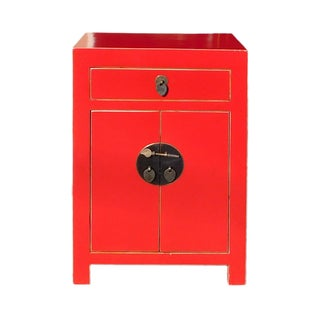 Chinese Red Round Moon Face Cabinet Side Table