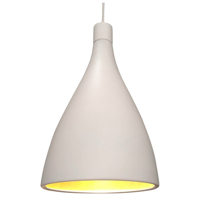 White & Gold Pendant Light Fixture - Image 1 of 7