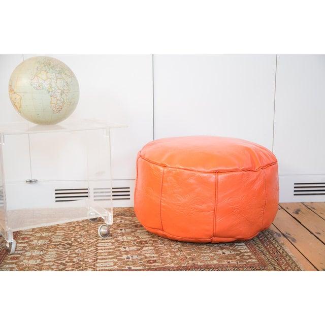 Antique Leather Moroccan Pouf - Orange - Image 2 of 8