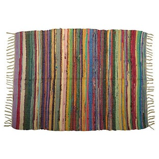 Striped Boucherouite Rug - 4' X 3'