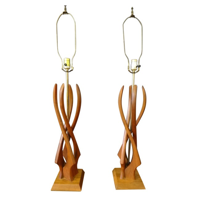 Image of Teak Table Lamps - A Pair