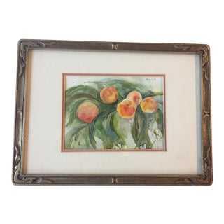 Framed Vintage Peaches Watercolor Painting