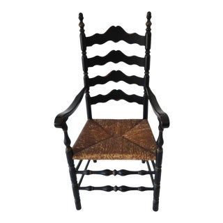 19th c. Original Black Painted Ladder Back Armchair from New England