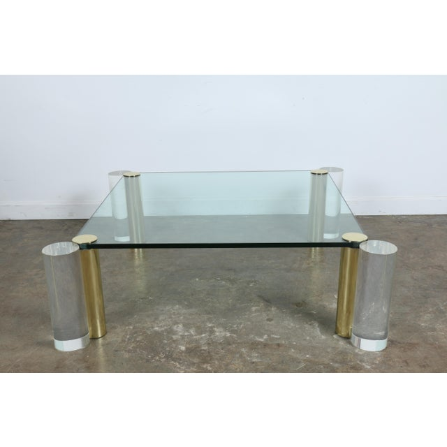 Hollywood regency lucite brass coffee table chairish for Lucite and brass coffee table