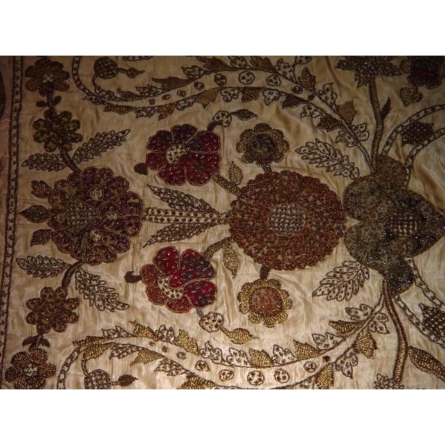 Large Ottoman Large Silkwork Textile Botanical Embroidery Hanging - Image 2 of 9