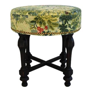 19th-Century Italian Scalamandre Velvet Fabric Stool