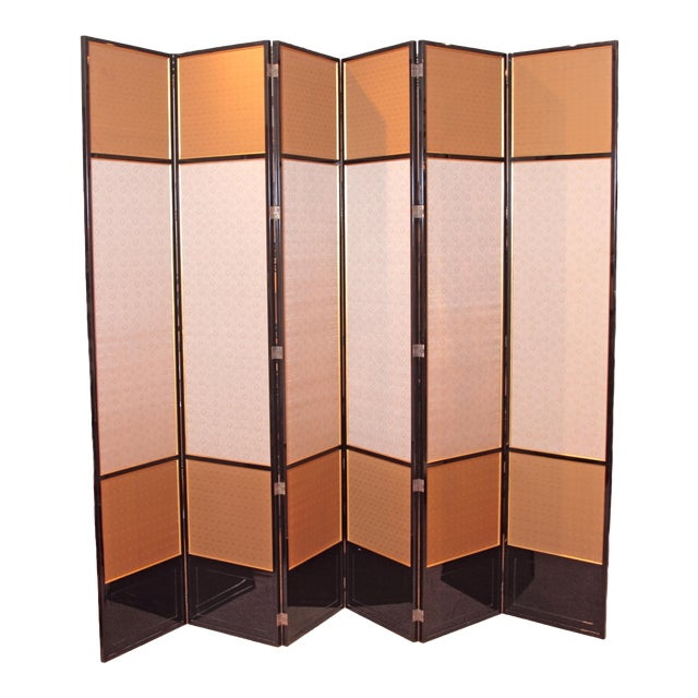 Large Neo Classical Six-Panel Black Lacquer and Fabric Screen/Room Divider - Image 1 of 11