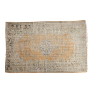 Vintage Distressed Oushak Carpet - 6' x 9'4""