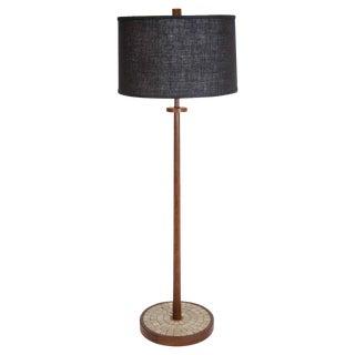 Martz Walnut Floor Lamp with Tile Base