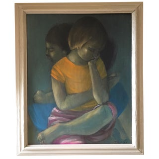 J. Motley Mid-Century Painting of Two Girls