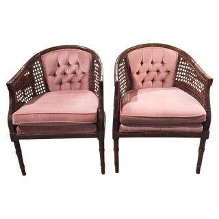 Pair of Mid-Century Caned Faux Bamboo Chairs