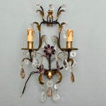 Image of Italian Two-Light Tole & Crystal Sconces - A Pair