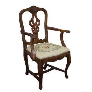 Vintage Italian Arm Chair With Needlepoint Seat