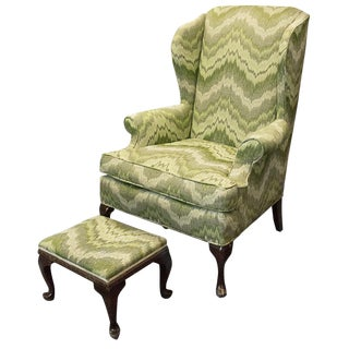 Queen Anne-Style Wingback Chair & Ottoman