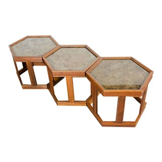 John Keal Hexagonal Copper Topped End Tables - Set of 3