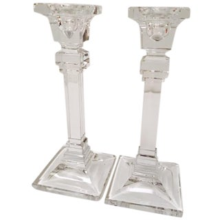 Art Deco-Style Crystal Candleholders - A Pair