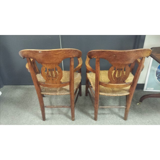 Image of Antique French Lyre Back Armchairs - A Pair