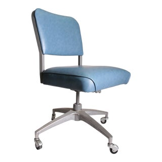 Mid Century Modern Blue Vinyl Swivel Office Chair