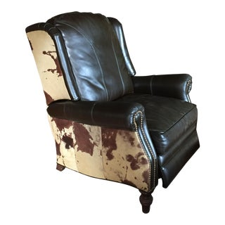 Cowhide and Leather Wingback Recliner