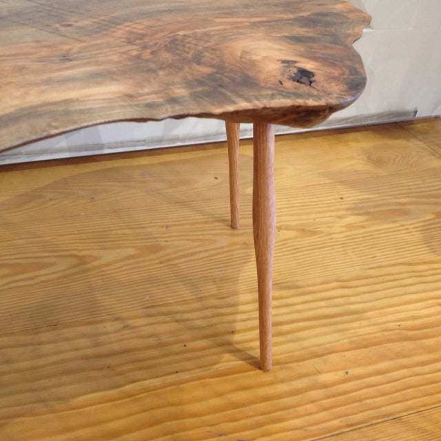 Mid Century Walnut Live Edge Coffee Table: Live Edge Walnut Slab Coffee Table