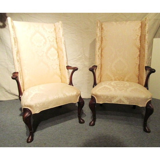 Upholstered Gold Wing Chairs - A Pair - Image 2 of 5