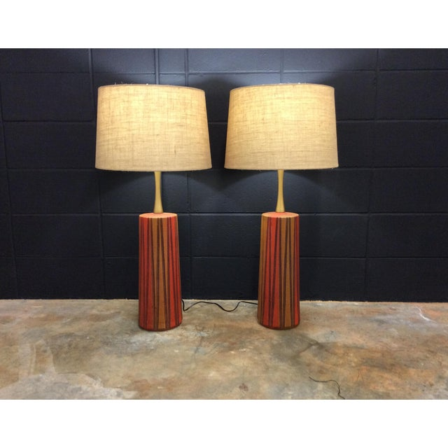 Mid-Century Ceramic Table Lamps - A Pair - Image 5 of 11